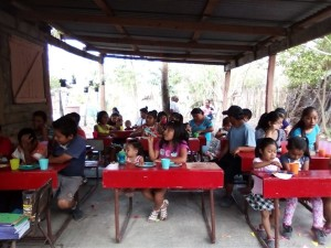 Hungry children at the Hidden Manna Feeding Program in Buenos Aires.