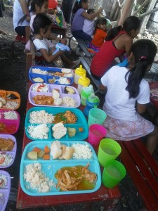 Hearty and full meals for the children being provided every Saturday along with a Bible teaching at their level.