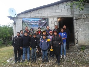 """Javier at Agua Nueve with Pame brothers and sisters at the Pame Missionary Center, """"Casa de Fe"""" (House of Prayer)."""