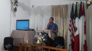 Dr. Mario Cázares teaching in the Bible Institute.