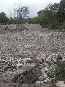 Dry riverbed in Tanlacut. This should be a flowing river in normal years. Please remember to pray for our brothers and sisters.