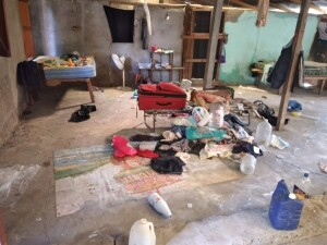 The destruction that the team found at the mission center in Agua Nueva.
