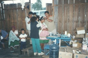 Patients being prayed for during a medical clinic