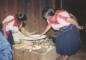 A meal being prepared in the kitchen in a village home in Chiapas