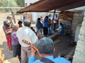 This is the congregation in the Pame village of El Coco